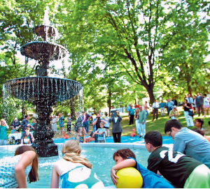 A new cast-iron fountain to replace a historic one that was melted down to assist with the war effort during World War II was installed in June in Nevin Park, located in College Hill adjacent to campus. It was one result of the work of a Tech Clinic team that included  Brian Dierze '16.