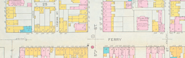 A First Insurance Company map from 1919 has been used to help reconstruct a virtual representation of the old Syrian Town neighborhood in Easton.