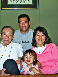 Left: Robert Nishiyama; top: Darrell Jung, Nishiyama's grandson; Rhoda Nishiyama, Nishiyama's daughter;  bottom; Kira, Nishiyama's great-granddaughter