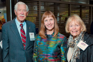 President Alison Byerly with Bill Buck '50 and wife Laura Buck at the dedication of William C. Buck Hall.