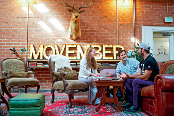 Movember's sprawling offices in Culver City, Calif., were once a dance studio operated by Debbie Allen of the 1980s movie Fame. They feature a barbershop and places for people to talk about men's health issues.