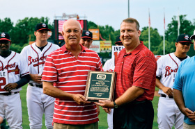 Eric Krupa (right) with Randy Ingle who was inducted into the South Atlantic League Hall of Fame on June 17, 2014.