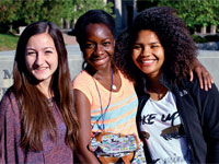 Gabrielle Minassian '17 (L-R), Chanel Mowatt '17, and Valerie Melson '17 attended the From Me to We social justice retreat.