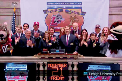 Lafayette College President Alison Byerly with College officials at the New York Stock Exchange