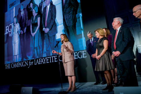 Lafayette College President Alison Byerly speaks on stage at the Live Connected, Lead Change celebration