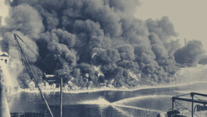 black and white photograph of Cuyahoga River fire