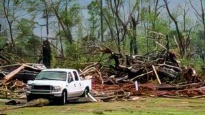 Debris left after a tornado strike in Louisville, Miss.