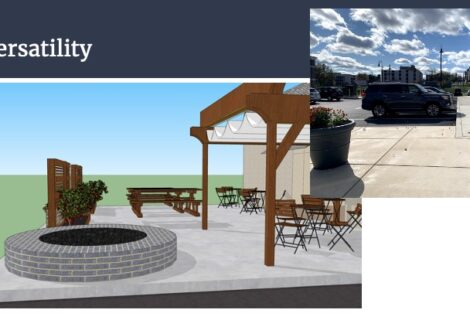 Lafayette engineering student Maddie Barto's parklet design for The Olive Oil Grille