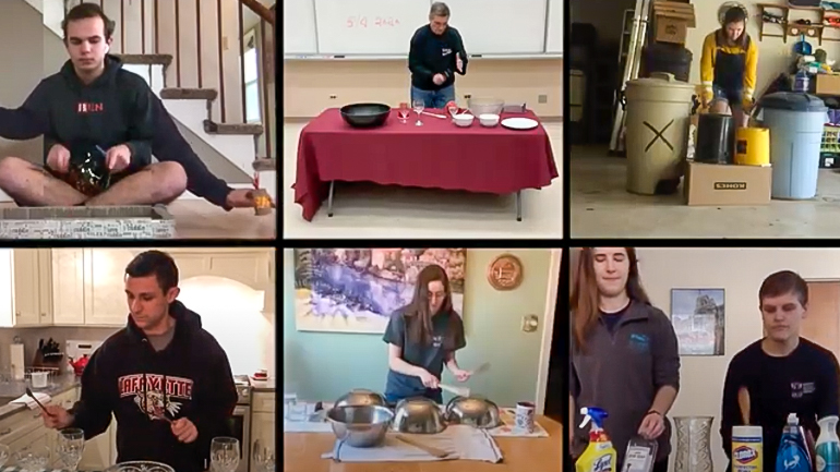 a grid of Zoom images showing Lafayette College students playing percussion on household items