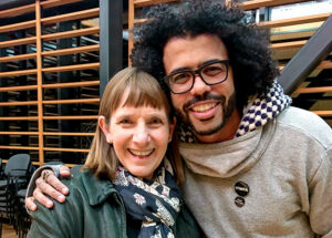 Lafayette College President Alison Byerly smiles with Daveed Diggs