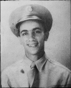 Ludwig Muhlfelder, a new soldier, after induction at Fort Dix, NJ in May 1943