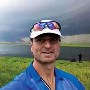Dr. Jeff Wasserman '86 outside during a tornado chase