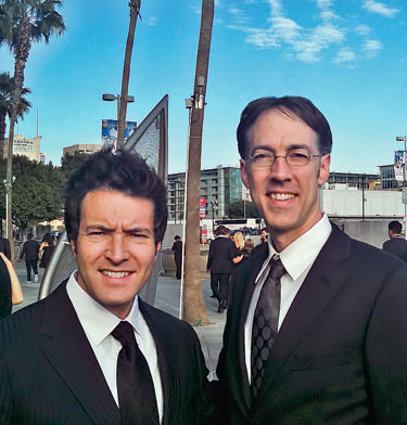 Jason Ojalvo '92 (left) and Tony Brooke '91, at the Staples Center, Los Angeles, for the Feb. 13, 2011, Grammy Awards ceremony.