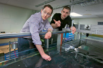 Atanas Angelov '16 (right) and Daniel Sabatino, assistant professor of  chemical engineering