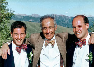 Greg '90, Alan '57, and Lee Pesky '87 at their sister, Heidi's wedding in Sun Valley, Idaho in 1993.